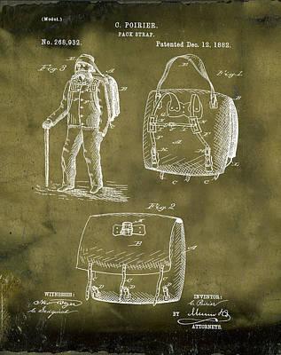Back Pack Patent 1882 Grunge Art Print