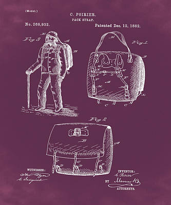 Back Pack Patent 1882 Red Art Print