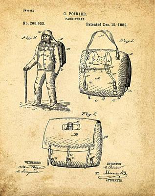 Back Pack Patent 1882 Sepia Art Print