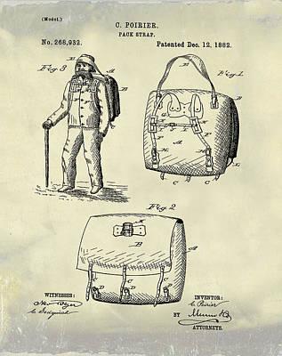 Back Pack Patent 1882 Vintage Art Print