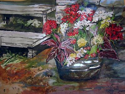 Mary Sonya Conti Painting - Back Porch Garden by Mary Sonya  Conti