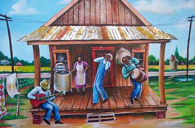 Black Gospel Painting - Back Porch Jamming by Arthur Covington