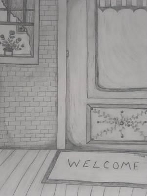 Primitive Drawing - Back Porch Welcome by Shannon Crandall