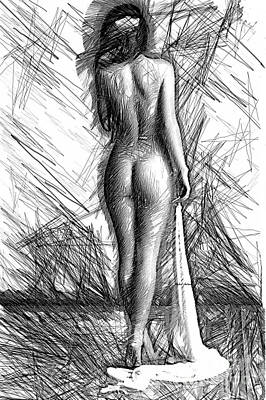 Digital Art - Back Pose Sketch by Rafael Salazar