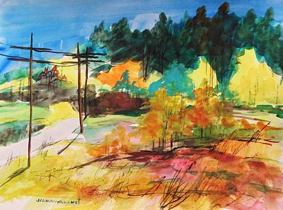 Telephone Wires Drawing - Back Road by John Williams