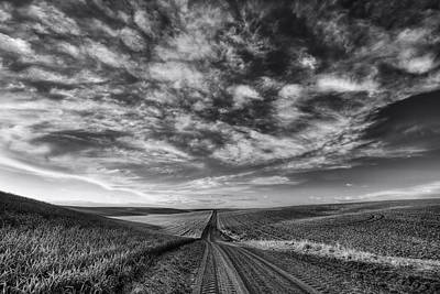 Back Road Solitude Black And White Art Print