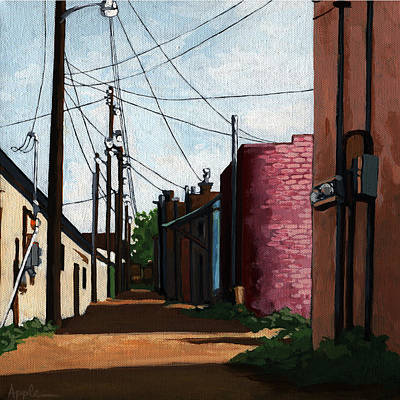Back Street Alley City Painting Art Print by Linda Apple