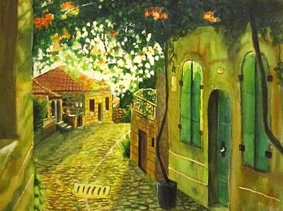 Golden Vines Painting - Back Street Glow by Sevgi Mutuku