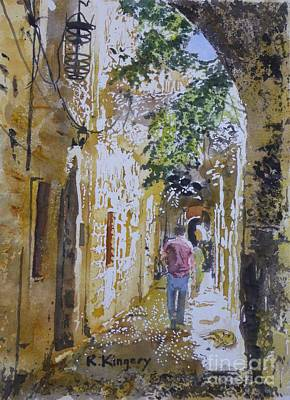 Mysterious Doorway Painting - Back Street II Rodos Greece by Ralph Kingery