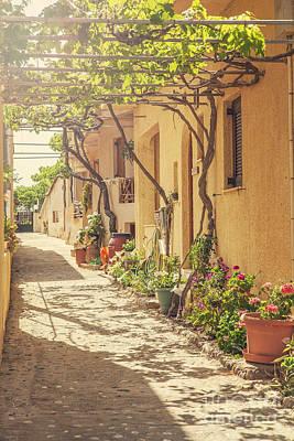Sunlit Door Photograph - Back Street In Cretan Village. by Sophie McAulay