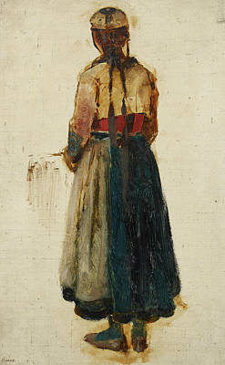 German Art Painting - Back Study Of A Girl In Traditional Costume by Ludwig Knaus