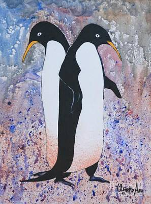 Communal Painting - Back-to-back - Emperor Penguins by Jean Clarke