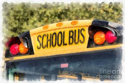 Education Painting - Back To School Bus Watercolor by Edward Fielding