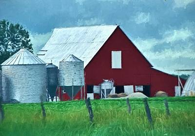 Back To Life Painting - Back To The Barn - Rural Illinois by Chrystyne Novack