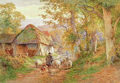 Rustic Barn Painting - Back To The Fold by Charles James Adams