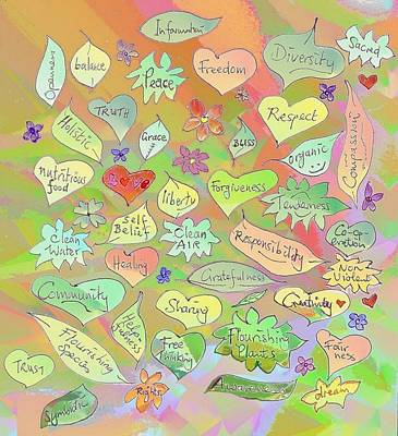 Drawing - Back To The Garden Leaves, Hearts, Flowers, With Words by Julia Woodman