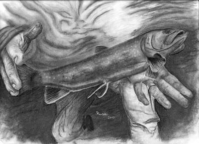 Brook Trout Drawing - Back To The Water by Russ  Smith