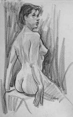 Drawing - Back View, Head Turned Forward by Robert Holden
