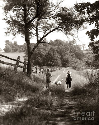 Best Friend Photograph - Back View Of Children On Dirt Road by H. Armstrong Roberts/ClassicStock