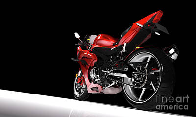 Photograph - Back View Of Red Sport Motorcycle In A Spotlight by Michal Bednarek