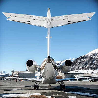Airplane Photograph - Back View Of This Embraer Legacy 600 Ok-sun by Roberto Chiartano