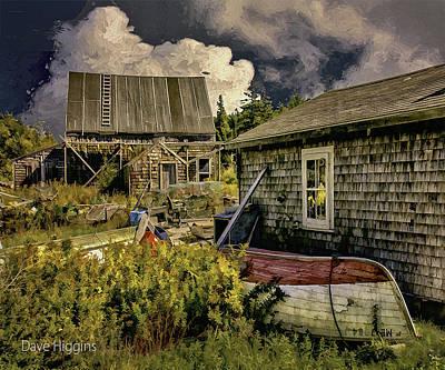 Back Yard, Stonington, Maine Art Print by Dave Higgins