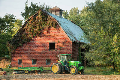Photograph - Backbone Of America - John Deere And Vintage Barn by Gregory Ballos
