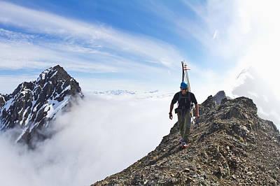 Backcountry Skier On West Twin Peak Art Print