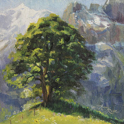 Swiss Painting - Backdrop Of Grandeur Plein Air Study by Anna Rose Bain