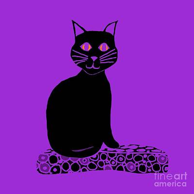 Drawing - Background Choice Black Cat by Barbara Moignard