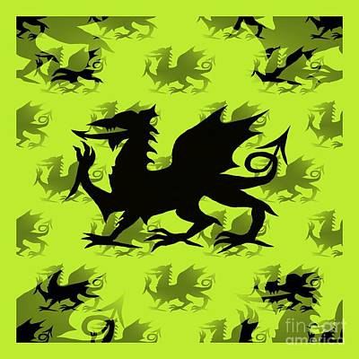 Digital Art - Background Choice Welsh Dragon Black by Barbara Moignard