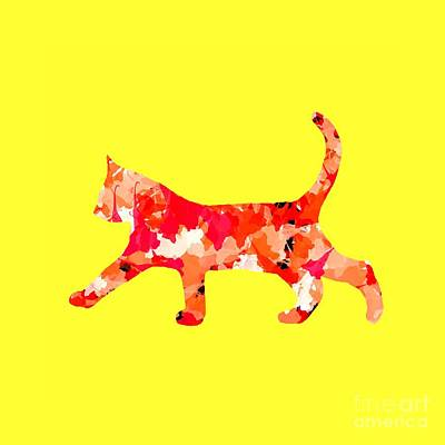 Digital Art - Background Colour Choice Cat by Barbara Moignard