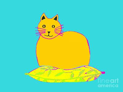 Drawing - Background Colour Choice Saffron Cat by Barbara Moignard