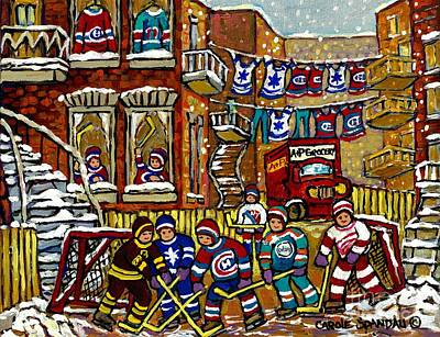 Painting - Backlane Snowy Winter Scene Hockey Game Verdun Alley Montreal Team Jerseys Canadian Art by Carole Spandau