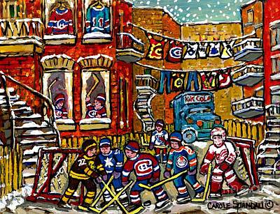 Street Hockey Painting - Backlane Winter In The City Original Six Hockey Art Verdun Montreal Snowy Alley Laneway Canadian Art by Carole Spandau