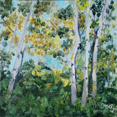Painting - Backlit Birches by Jan Bennicoff