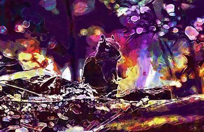 Digital Art - Backlit Chipmunk Eastern Chipmunk  by PixBreak Art