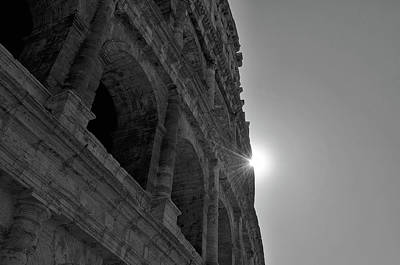 Photograph - Backlit Exterior Of The Ancient Roman Colosseum Black And White by Shawn O'Brien