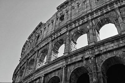 Photograph - Backlit Exterior Of The Roman Colosseum Black And White by Shawn O'Brien