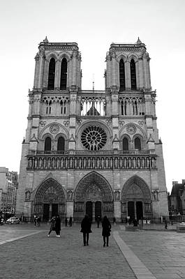 Photograph - Backlit Front Facade Of The Magnificent Notre Dame Cathedral Paris France Black And White by Shawn O'Brien