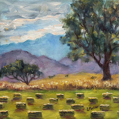 Painting - Backlit Haybales by Jill Musser
