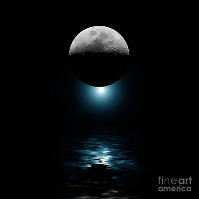 Backlit Moon And Blue Star Over Water Art Print