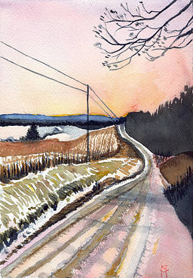 Painting - Backlit Roads by Katherine Miller