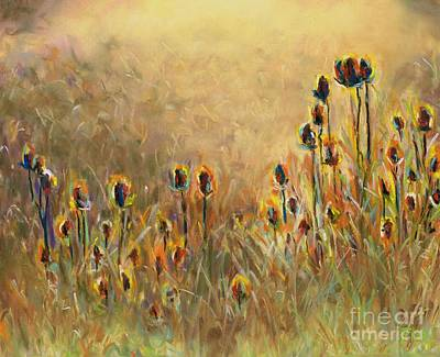 Field Of Flowers Painting - Backlit Thistle by Frances Marino
