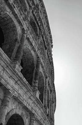 Photograph - Backlit Vertical Exterior Of The Roman Colosseum Black And White by Shawn O'Brien