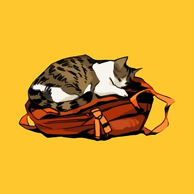 Digital Art - Backpack Nap by Ellan Suder