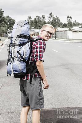 Backpacking Man On Travel Adventure Art Print