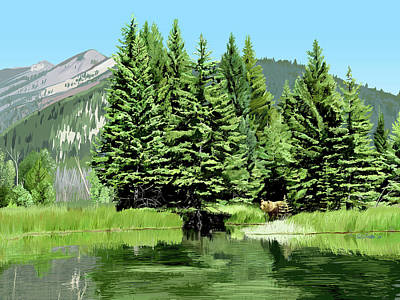 Digital Art - Backwater And Bear by Pam Little