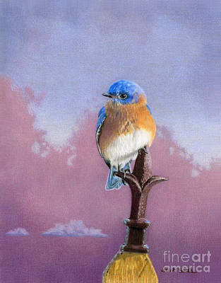 Fleur De Lis Painting - Backyard Bluebird by Sarah Batalka