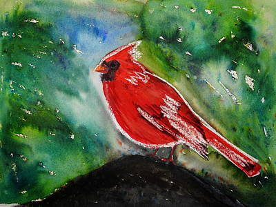 Mixed Media - Backyard Cardinal by Betty-Anne McDonald